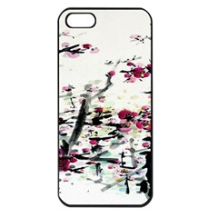 Pink Flower Ink Painting Art Apple Iphone 5 Seamless Case (black) by BangZart