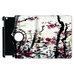 Pink Flower Ink Painting Art Apple Ipad 3/4 Flip 360 Case by BangZart