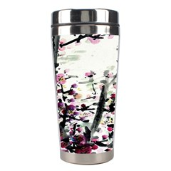 Pink Flower Ink Painting Art Stainless Steel Travel Tumblers by BangZart