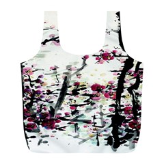 Pink Flower Ink Painting Art Full Print Recycle Bags (l)  by BangZart