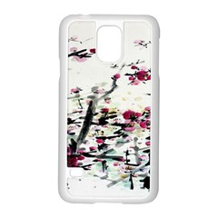 Pink Flower Ink Painting Art Samsung Galaxy S5 Case (white) by BangZart