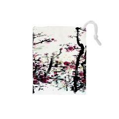 Pink Flower Ink Painting Art Drawstring Pouches (small)  by BangZart