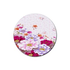 Sweet Flowers Rubber Coaster (round)  by BangZart