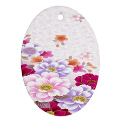Sweet Flowers Oval Ornament (two Sides) by BangZart