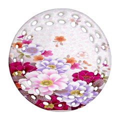 Sweet Flowers Round Filigree Ornament (two Sides) by BangZart