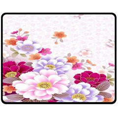 Sweet Flowers Double Sided Fleece Blanket (medium)  by BangZart