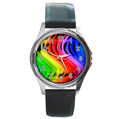 Colorful Vertical Lines Round Metal Watch by BangZart