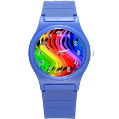 Colorful Vertical Lines Round Plastic Sport Watch (s) by BangZart