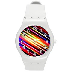 Funky Color Lines Round Plastic Sport Watch (m) by BangZart