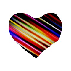Funky Color Lines Standard 16  Premium Heart Shape Cushions