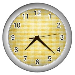 Spring Yellow Gingham Wall Clocks (silver)  by BangZart