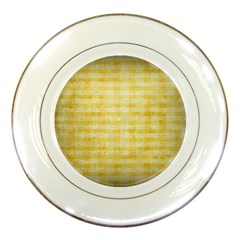 Spring Yellow Gingham Porcelain Plates