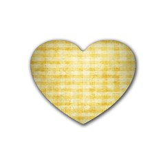 Spring Yellow Gingham Rubber Coaster (heart)  by BangZart