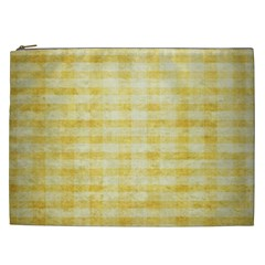 Spring Yellow Gingham Cosmetic Bag (xxl)  by BangZart