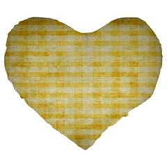 Spring Yellow Gingham Large 19  Premium Heart Shape Cushions by BangZart