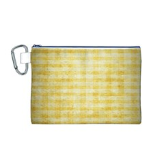Spring Yellow Gingham Canvas Cosmetic Bag (m) by BangZart