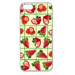 Strawberries Pattern Apple Seamless Iphone 5 Case (clear) by SuperPatterns