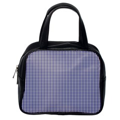 USA Flag Blue and White Gingham Checked Classic Handbags (One Side) by PodArtist
