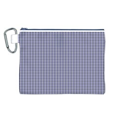 Usa Flag Blue And White Gingham Checked Canvas Cosmetic Bag (l) by PodArtist