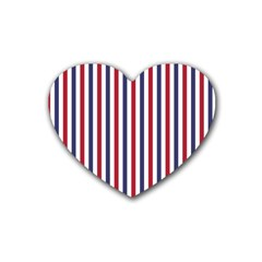 USA Flag Red White and Flag Blue Wide Stripes Rubber Coaster (Heart)  by PodArtist