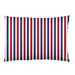 USA Flag Red White and Flag Blue Wide Stripes Pillow Case (Two Sides) by PodArtist