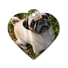 Pug Fawn Full Dog Tag Heart (One Side)