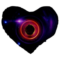 The Little Astronaut On A Tiny Fractal Planet Large 19  Premium Heart Shape Cushions by beautifulfractals