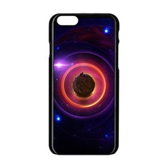The Little Astronaut On A Tiny Fractal Planet Apple Iphone 6/6s Black Enamel Case by beautifulfractals