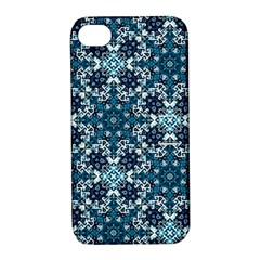 Boho Blue Fancy Tile Pattern Apple Iphone 4/4s Hardshell Case With Stand by KirstenStar