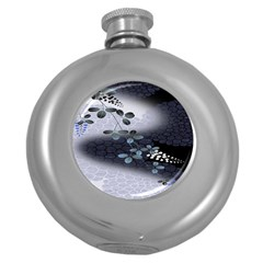 Abstract Black And Gray Tree Round Hip Flask (5 Oz) by BangZart