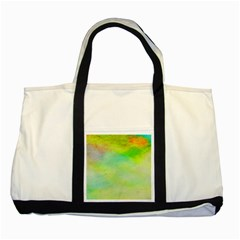 Abstract Yellow Green Oil Two Tone Tote Bag by BangZart