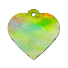 Abstract Yellow Green Oil Dog Tag Heart (one Side) by BangZart