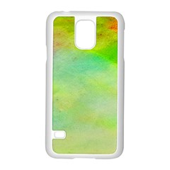 Abstract Yellow Green Oil Samsung Galaxy S5 Case (white) by BangZart