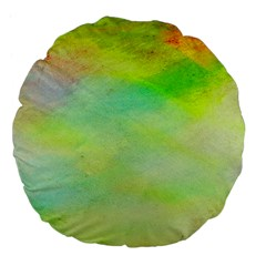 Abstract Yellow Green Oil Large 18  Premium Flano Round Cushions by BangZart