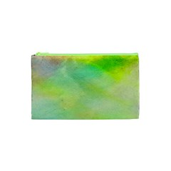 Abstract Yellow Green Oil Cosmetic Bag (xs) by BangZart
