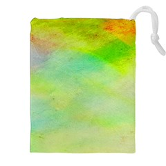 Abstract Yellow Green Oil Drawstring Pouches (xxl) by BangZart