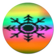 Vector Snowflake Magnet 5  (round) by BangZart