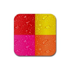 Color Abstract Drops Rubber Coaster (square)  by BangZart