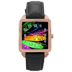 Abstract Flower Rose Gold Leather Watch  by BangZart