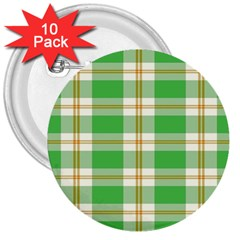 Abstract Green Plaid 3  Buttons (10 Pack)