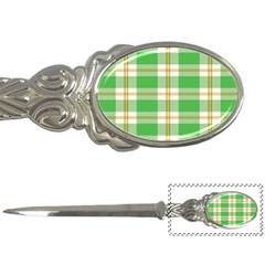 Abstract Green Plaid Letter Openers by BangZart