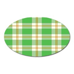 Abstract Green Plaid Oval Magnet by BangZart