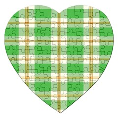 Abstract Green Plaid Jigsaw Puzzle (heart) by BangZart