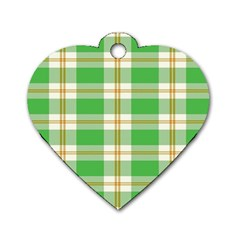 Abstract Green Plaid Dog Tag Heart (one Side) by BangZart
