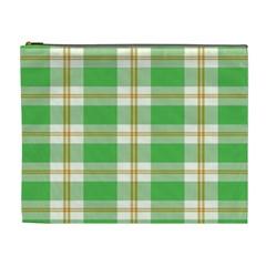 Abstract Green Plaid Cosmetic Bag (xl) by BangZart