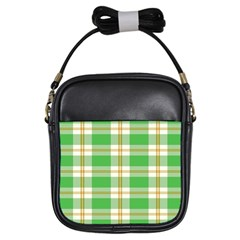 Abstract Green Plaid Girls Sling Bags by BangZart