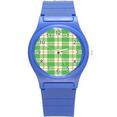 Abstract Green Plaid Round Plastic Sport Watch (s) by BangZart