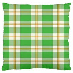 Abstract Green Plaid Large Cushion Case (two Sides) by BangZart