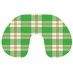 Abstract Green Plaid Travel Neck Pillows