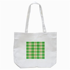 Abstract Green Plaid Tote Bag (white) by BangZart